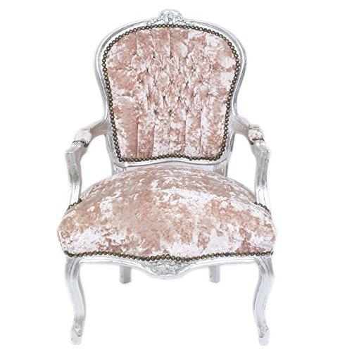 Casa Padrino Barock Salon Stuhl Rose Velour Stoff / Silber - Antik Design Möbel