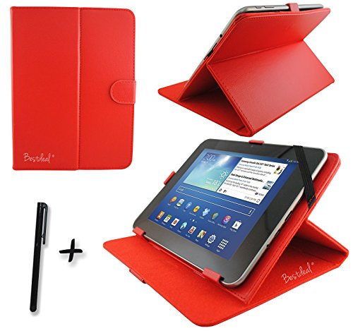 "Rot PU Lederner Tasche Case Hülle für Point of View ProTab 2XXL / 3XXL / 25XXL / 26XXL IPS 10.1"" Zoll Tablet PC + Stylus"