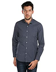 Oxemberg Men's Printed Sports 100% Cotton Blue Shirt