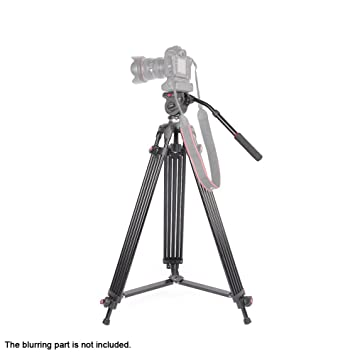 JY0508B 1.8m DSLR pliable télescopique en alliage d'aluminium caméscope de trépied avec fluid drag head rembourré Sac