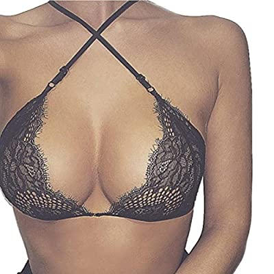 Amlaiworld Women Hollow Translucent Underwear Wrapped Chest Sheer Lace Vest Strap Lingerie