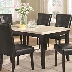 Dining Table with Cream Faux Marble Top in Dark Cappuccino Finish