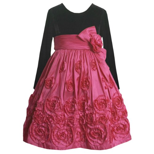 Size-6 BNJ-8601X FUCHSIA-PINK BLACK VELVET BONAZ TAFFETA Special Occasion Flower Girl Holiday Party Dress,X38601 Bonnie Jean LITTLE GIRLS