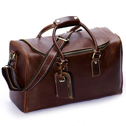 Leathario Mens Leather Weekend Travel Duffel Bags