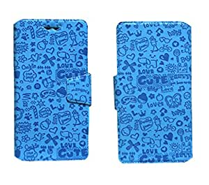 J Cover Teddy Series Leather Pouch Flip Case With Silicon Holder For Gionee Elife E7 (32Gb) Blue