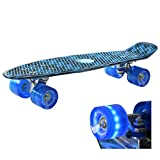 Retro Kinder Skateboard Mini Cruiser mit LED Leuchtenrolle