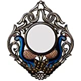 Divraya Wood Peacock Wall Mirror (45.72 Cm X 4 Cm X 60.96 Cm, DA109)