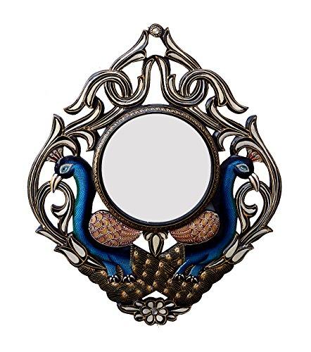 Divraya Wood Peacock Wall Mirror (45.72 Cm X 4 Cm X 60.96 Cm, DA109)