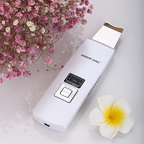 KINGDOMCARES-Ultrasonic-Cordless-Skin-Scrubber-Rechargeable-Exfoliation-with-Stand-Vibration-Anti-Age-Ionic-Function-Cleaner-Mini-SPA-Gentle-Peel-Dermabrasion-Skin-Rejuvenation-Portable-White