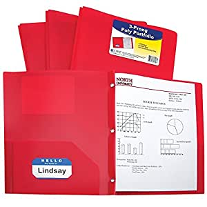 C-Line Two-Pocket Heavyweight Poly Portfolio with Prongs, For Letter Size Papers, Includes Business Card Slot, 1 Case of 25 Portfolios, Red (33964)