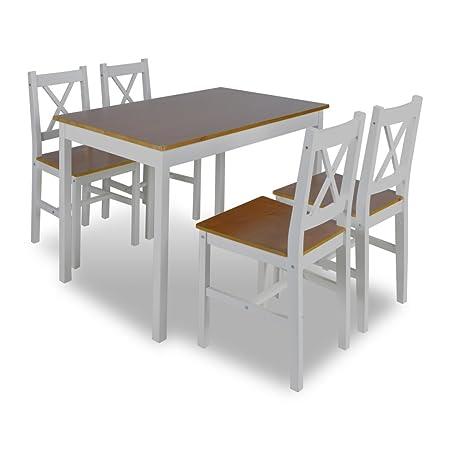 Festnight Sed di mobili Tavolo in legno con 4 sedie in legno Bianco
