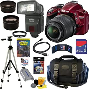 Nikon D3200 24.2 MP CMOS Digital SLR Camera (Red) with 18-55mm f/3.5-5.6 AF-S DX VR NIKKOR Zoom Lens + Automatic TTL Flash + Telephoto & Wide Angle Lenses + 10pc Bundle 32GB Deluxe Accessory Kit