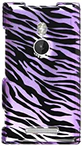 Cell Armor Snap Case for Nokia Lumia 925 - Retail Packaging - Transparent Design, Purple Zebra