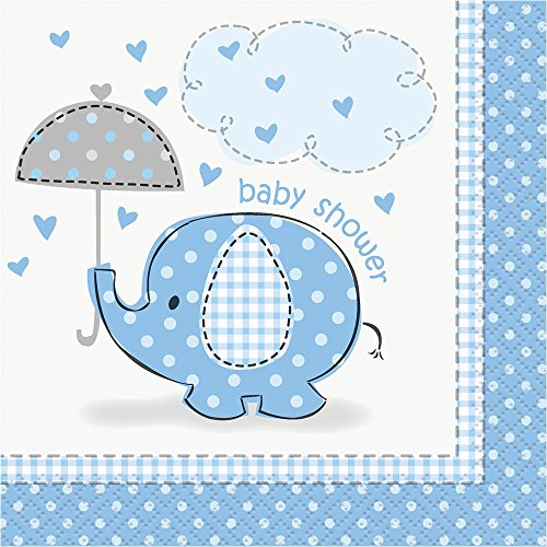 Umbrellaphants Blue Baby Shower Beverage Napkins (16)