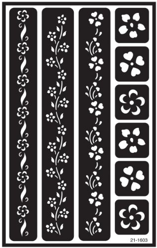 Armour Etch Over N Over Stencil, Floral Borders (Glass Painting Stencils compare prices)