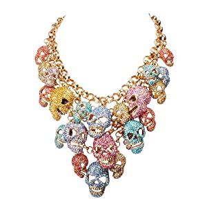 Jane Stone Unique Luxurious Bling Bling Colorful Rhinestone Skull Cluster Chunky Statement Necklace for Women(Fn0954)
