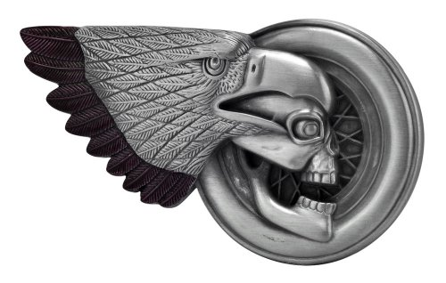 Buckle Rage Silver & Brown Biker Skull & Eagle Belt Buckle One Size