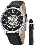 Stuhrling Original Mens 746L.SET.02 Delphi Solaris Automatic Skeleton Black Watch with Additional Strap