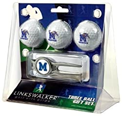 Memphis Tigers 3 Golf Ball Gift Pack w/ Kool Tool - NCAA College Athletics