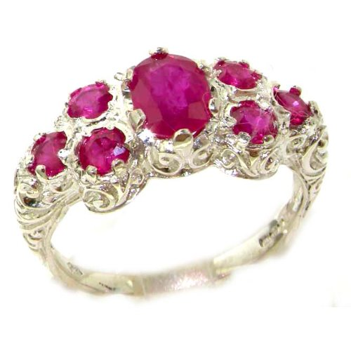 Solid English Sterling Silver Womens Large Natural Ruby Art Nouveau Ring - Size 12 - Finger Sizes 5 to 12 Available - Suitable as an Anniversary ring, Engagement ring, Eternity ring, or Promise ring