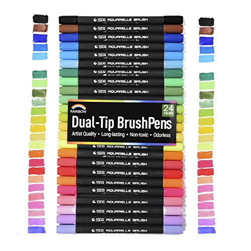 rainbow-premium-dual-tip-artist-markers-24-unique-watercolor-drawing-pens-great-gift-fineliner-brush
