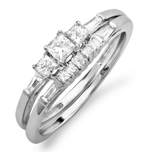 0.60 Carat (ctw) 10k White Gold Princess & Baguette Diamond Ladies Bridal Ring Engagement Set