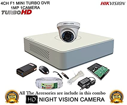 Hikvision-DS-7104HGHI-F1-4CH-Mini-Dvr,-1(DS-2CE56COT-IRP)-Dome-Camera-(With-Mouse,-1TB-HDD,-Bnc&Dc-Connectors,Power-Supply,Cable)