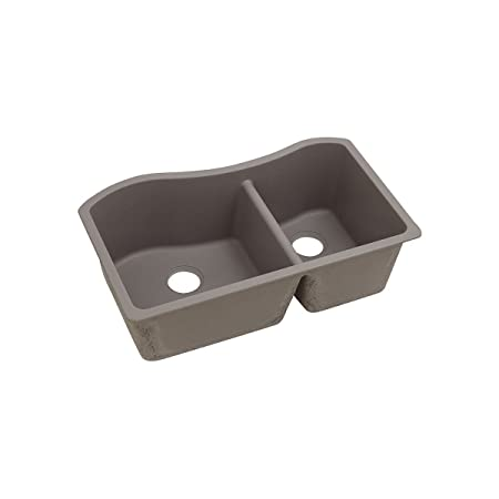 "Elkay ELGHU3220RGR0 Granite 32.5"" x 20"" x 10"" Double Bowl Undermount Kitchen Sink, Greige"