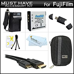 Must Have Accessory Kit For Fuji Fujifilm FinePix F800EXR, F770EXR F750EXR F660EXR F600EXR F505EXR F500EXR F550EXR XF1 F850EXR, F900EXR Digital Camera Includes Extended Replacement (1100 maH) NP-50 Battery + Ac/Dc Charger + Mini HDMI Cable + Case + More