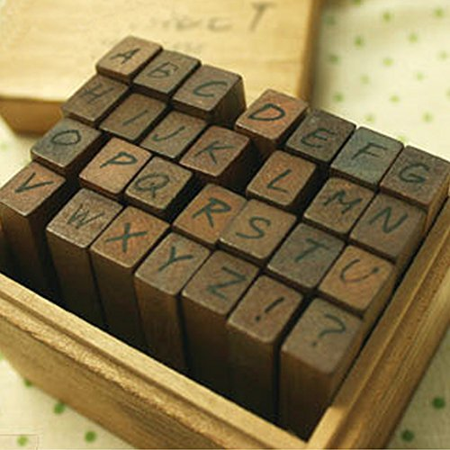 Vintage Wooden Handmade Rubber Stamp Set (28-Piece), Woodows Antique Typewriter Alphabet/Lower An antique typewriter look for the entire alphabet on Rubber Stamps (Upper case)