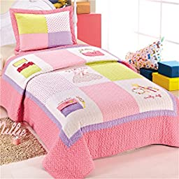 XQL 100% Cotton Girls Princess Cup Cake 2 Piece Patchwork Quilted Bedspread Set - Twin Size
