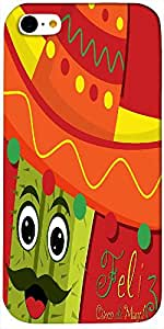 Timpax Protective Hard Back Case Cover Full access to all features. ports of the device including microphone, speaker, camera and all buttons. Printed Design : A cactus with a hat.Compatible with Apple iPhone-5-C