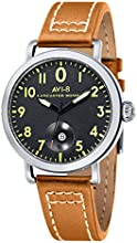 Avi-8 Lancaster Bomber Men's Quartz Watch with Black Dial Analogue Display and Brown Leather Strap AV-4020-02