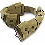 Ultimate Arms Gear M1 M-1 Garand Rifle U.S. Military WWII Reproduction OD Olive Drab Green 10 Pocket Utility Pouch Cartridge .30-06 Ammunition Rounds Ammo Tool Heavy Duty Canvas Waist Belt