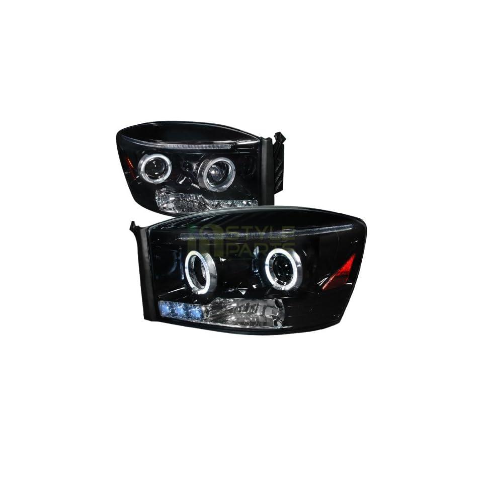 2006 2008 Dodge Ram Halo Projector Headlight Gloss Black Housing Smoke