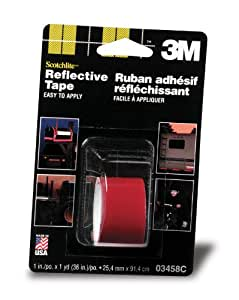 3M Reflective Tape, Red, 1-Inch by 36-Inch