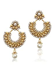 Adiva White Beautiful Ethnic With Pearl Stones And Pearls Copper Dangle & Drop Earrings For Women