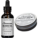 Majestic Pure All Natural Beard Balm & Beard Oil Set, Style, Shape, & Condition, (1.7 oz + 1 oz)