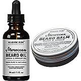 Majestic Pure All Natural Beard Balm & Beard Oil Set, Style, Shape, & Condition, (1.7 oz + 1 oz)