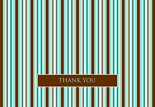 Hortense B. Hewitt 24 Count Brown And Blue Stripes Thank You Note Cards front-221864