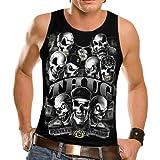Wellcoda Thug Skeleton Biker Rider Skull Gangster Mens Sleeveless T-Shirt NEW Top Tank 100% Cotton Vest S-2XL Size