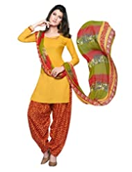 Inddus Women Yellow & Red Crepe Unstitched Dress Material