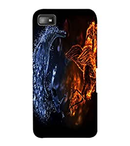 ColourCraft Fire and Ice Dragon Design Back Case Cover for BLACKBERRY Z10