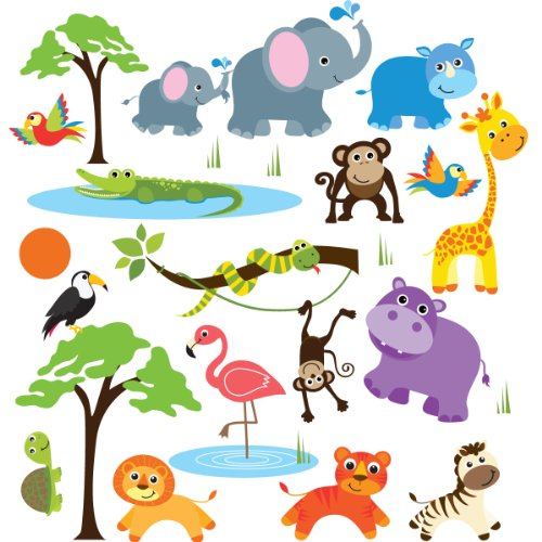 Safari Adventure Decorative Peel & Stick Wall Art Sticker Decals (Wall Stickers Decals compare prices)