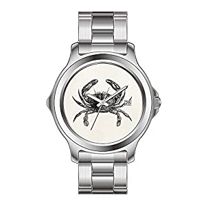 FYD Watch Man's Fashion Stainless Steel Band Watch Vintage Crab Antique Crabs Personalized Template Watch