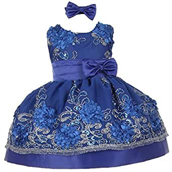 Blue sequin floral embroidery flower girl christmas dress 2t clothing