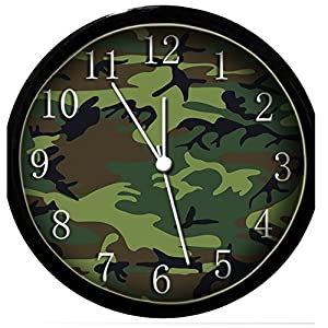 glow in the dark wall clock camouflage home
