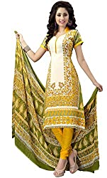 The Desi Attire Women's Crepe Unsticthed Dress Material (8013_Cream_44)