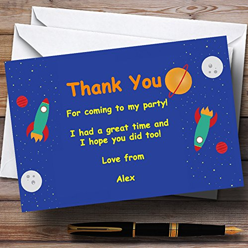 Outer Space Rocket Blue Personalized Birthday Party Thank You Cards (Outer Space Invitations compare prices)