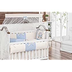 Kombi Themed Blue and Ivory Baby Boy 10 Pcs Nursery Crib Bedding Set Embroidered